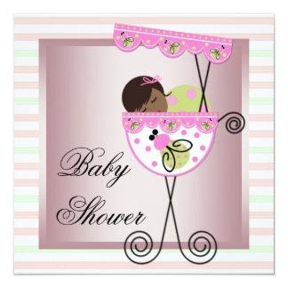 Pink Green Baby Girl Shower Invitations