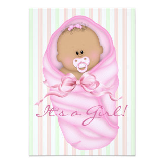 "Pink Green Baby Girl Shower Invitations 5"" X 7"" Invitation Card"