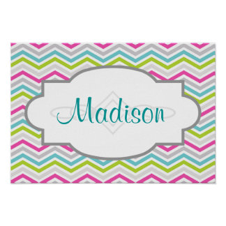 Pink, Green, Blue and White Chevron Stripes Poster