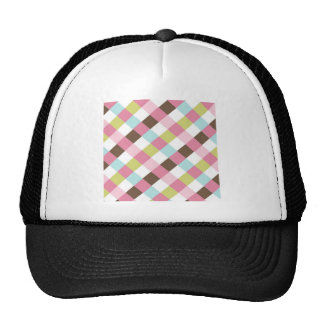 Pink Green Blue Brown Cross Hatch Mesh Hats