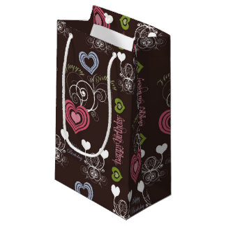 Pink/Green/Blue Hearts Gift Bag - Small, Glossy