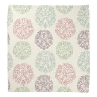 Pink green blue pastel color mandala pattern do-rag