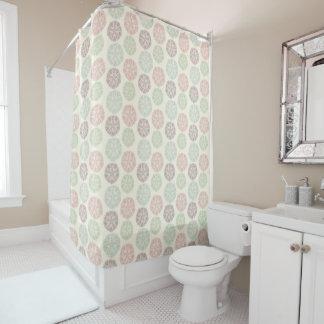 Pink green blue pastel color mandala pattern shower curtain