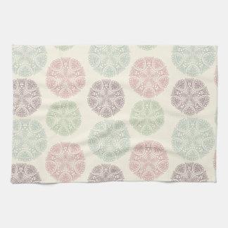 Pink green blue pastel color mandala pattern tea towel