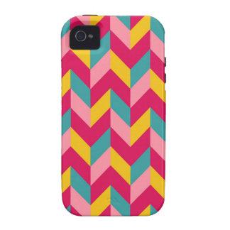 Pink Green Blue Yellow Herringbone Chevron Pattern Case For The iPhone 4