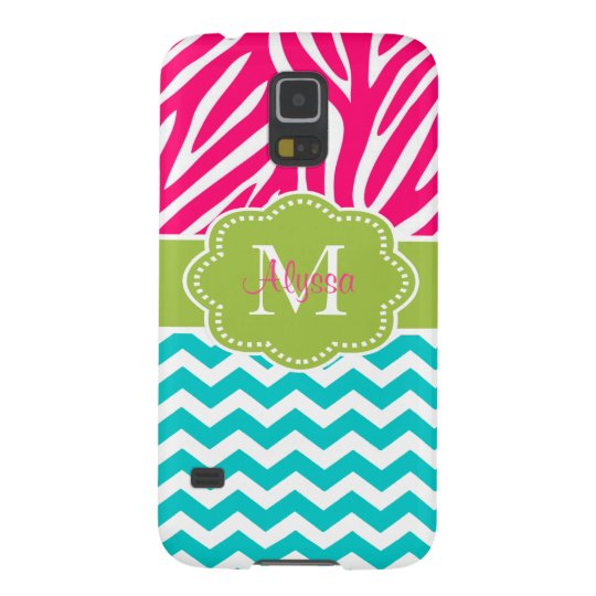 Pink Green Blue Zebra Chevron Personalised Galaxy S5 Cover