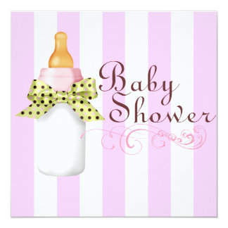 Pink/Green Bottle & Bow Baby Shower Invitation