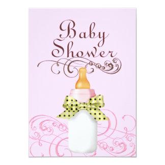 Pink/Green Bottle & Swirl Baby Shower Invitation