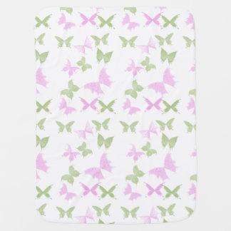 Pink Green Butterflies Girls Baby Blanket