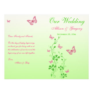 Pink, Green Butterfly Floral Wedding Program 21.5 Cm X 28 Cm Flyer