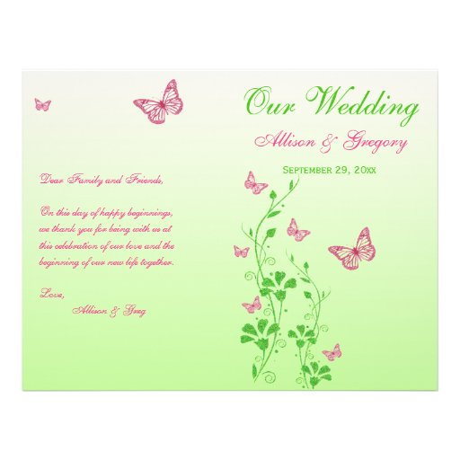 Pink, Green Butterfly Floral Wedding Program Custom Flyer