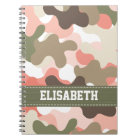 Pink Green Camouflage Camo Spiral Notebook Journal