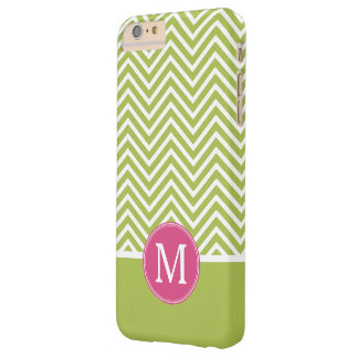 Pink & Green Chevron Pattern with Monogram Barely There iPhone 6 Plus Case