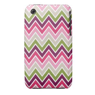 Pink & Green Chevron Stripe iPhone 3 Covers