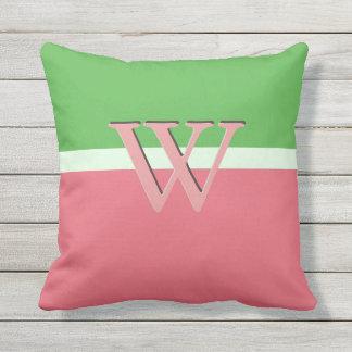 Pink Green Color Block Monogram Watermelon Slices Cushion