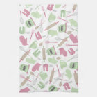 Pink & Green Cooking Themed Kitchen Towel