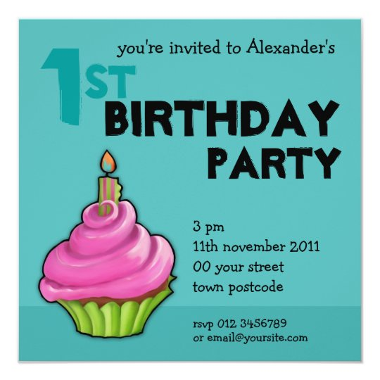Pink & Green Cupcake aqua 1st Birthday Invitation