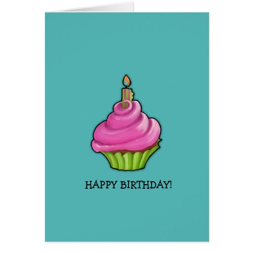 Pink & Green Cupcake aqua Birthday Cards