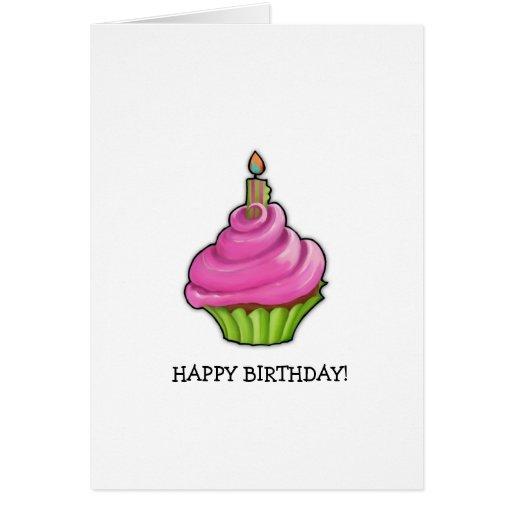 Pink & Green Cupcake Birthday Card