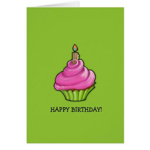 Pink & Green Cupcake green Birthday Greeting Cards