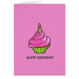 Pink & Green Cupcake pink Birthday Greeting Cards