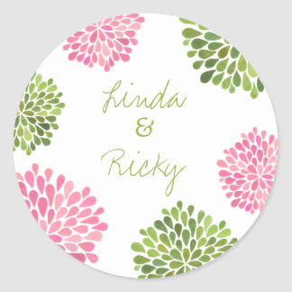 Pink & Green Dahlia Wedding Round Sticker Seal