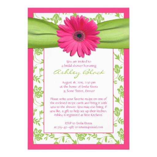 Pink Green Daisy Damask Bridal Shower Invitation