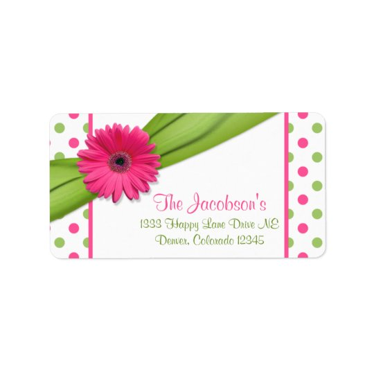 Pink Green Daisy Polka Dots Return Address Labels