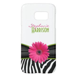 Pink Green Daisy Zebra Print