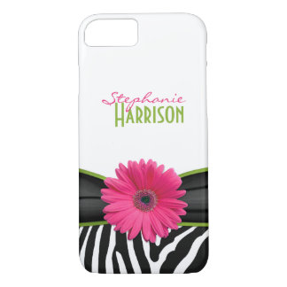 Pink Green Daisy Zebra Print Personalized iPhone 8/7 Case