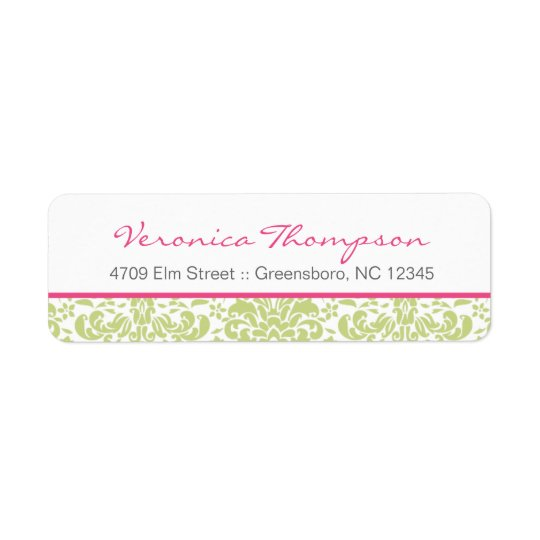 Pink & Green Damask Address Label