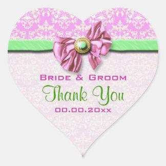 Pink green damask elegant heart sticker