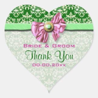 "Pink green damask elegant ""thank you"" heart sticker"