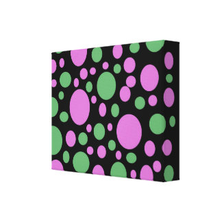 pink green dots gallery wrapped canvas