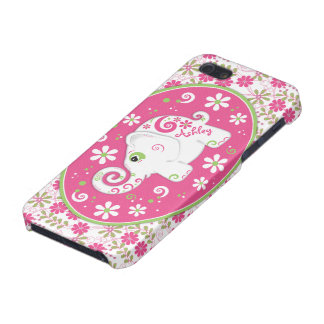 Pink Green Fancy Elephant Floral iPhone5 Case