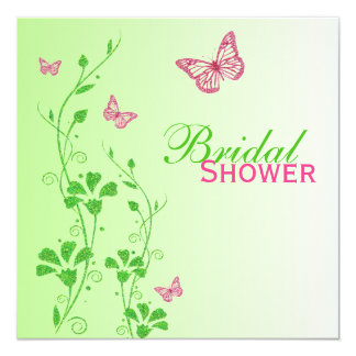 Pink Green Floral Butterflies Bridal Shower Invite
