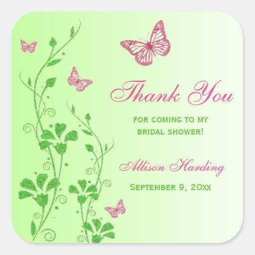 Pink Green Floral Butterfly Bridal Shower Sticker