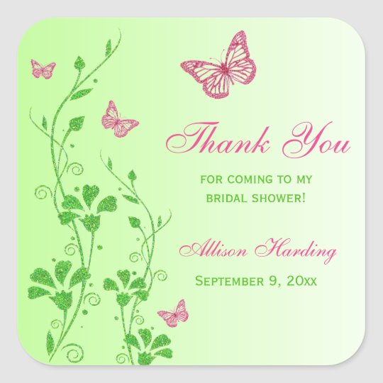 Pink Green Floral Butterfly Bridal Shower Sticker