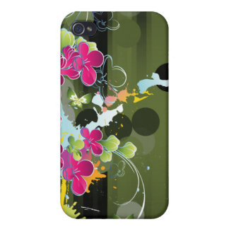 Pink Green Floral Grunge Cover For iPhone 4