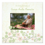 Pink green floral in memoriam photo flat card 13 cm x 13 cm square invitation card