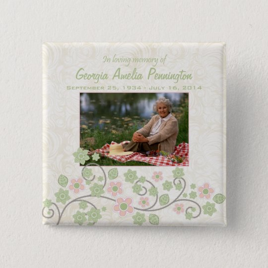 Pink green floral in memoriam photo pinback button