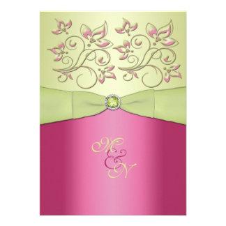 Pink Green Floral Monogram Wedding Invitation