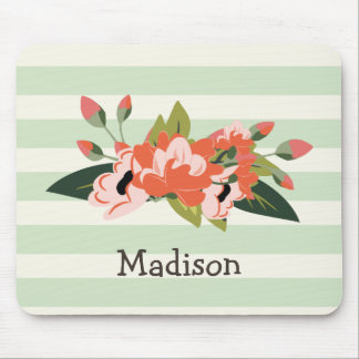 Pink & Green Floral; Pastel Green Stripes Mouse Pad