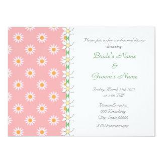 "Pink Green Floral Spring Wedding Rehearsal Dinner 6.5"" X 8.75"" Invitation Card"