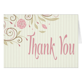 Pink & Green Floral Stripe Thank You Note Card