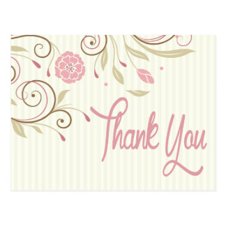Pink & Green Floral Stripe Thank You Post Card