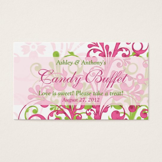 Pink Green Floral Wedding Candy Buffet Gift Cards