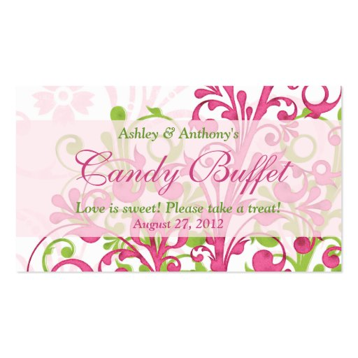 Pink Green Floral Wedding Candy Buffet Gift Cards Pack Of Standard Business Cards