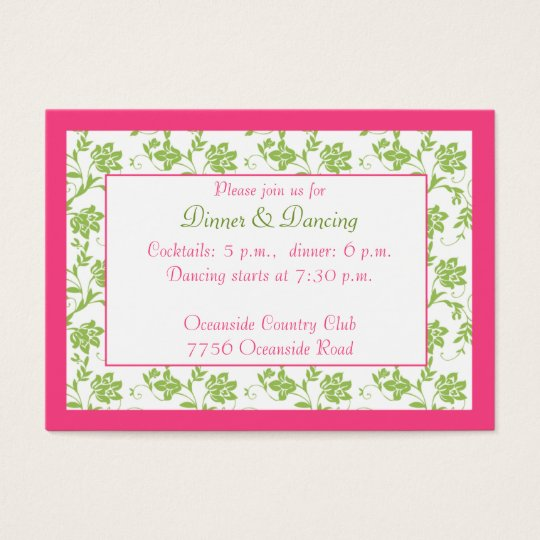 Pink Green Floral Wedding Reception Card