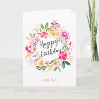 Pink green floral wreath watercolor happy birthday card